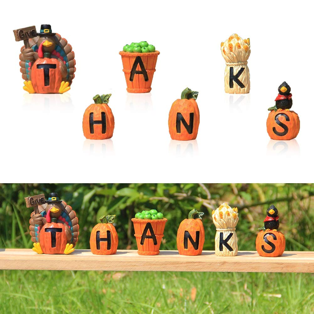 Forup Carved Give Thanks Turkey Decoration Decorative Accessories Turkey Pumpkins Apples And Haystack For Autumn Fall Thanksgiving Harvest Home