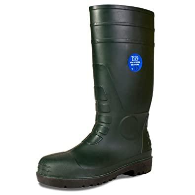 6c69afc0d17 muddy Plus Steel toe cap and steel Midsole Work wellingtons (4, Green)