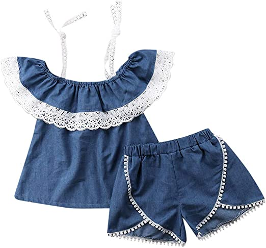 Little Girl Summer Sets,Jchen Kids Baby Girl Solid Color Sleeveless Ruffle Tops+Bowknot Shorts Casual Outfits for 0-4 Yrs