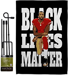 All Lives Matter Black Lives Anti Racism Garden Flag Set with Stand Support Cause BLM Revolution Movement Equality Social House Decoration Banner Small Yard Gift Double-Sided, 13