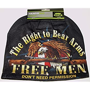 HD Sublimation Right to Bear Arms Free Men Stocking Hat Cap Beanie Fleece Lined