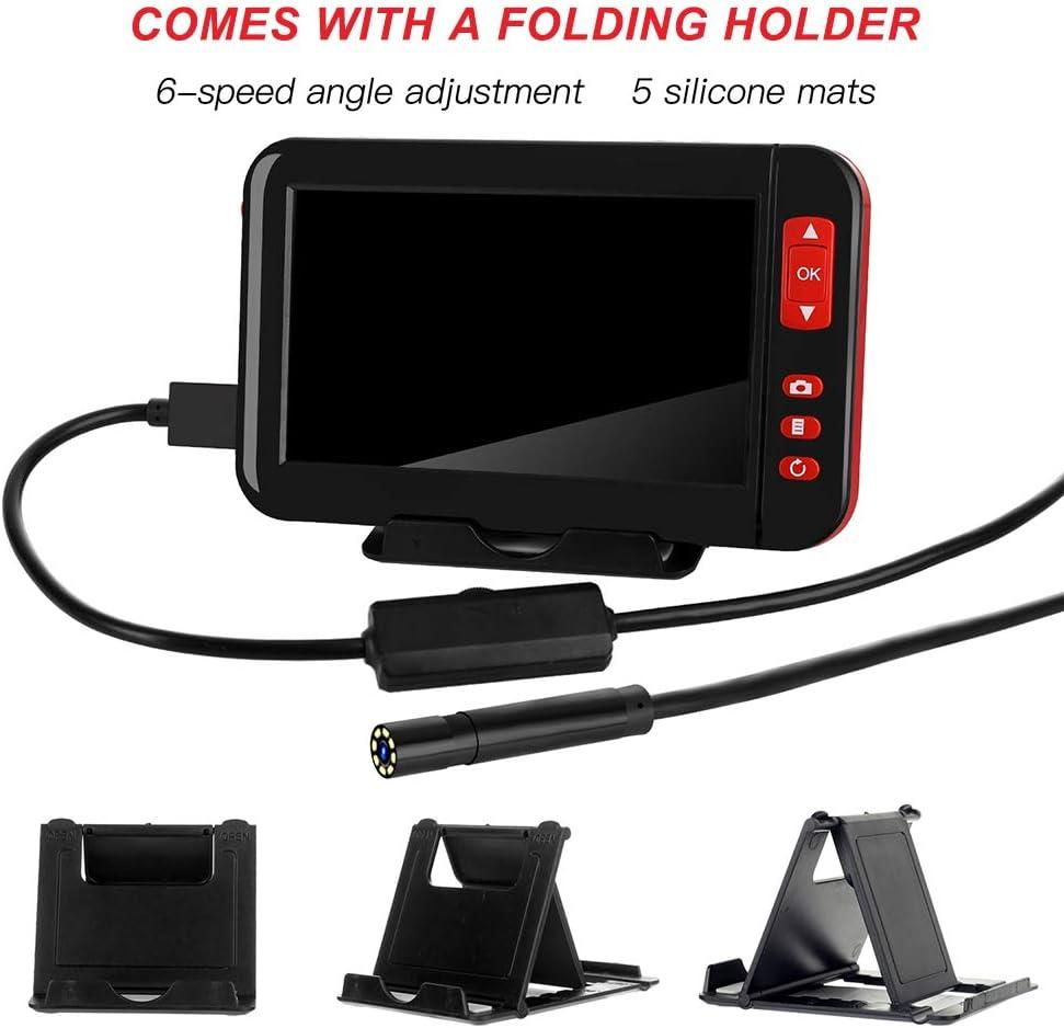 Endoscope rechargeable USB endoscope MASO 1080P Cam/éra dinspection HD avec sonde /à 8 LEDs Tube de 8 mm /Écran LCD 4.3F200 /étanche 5M