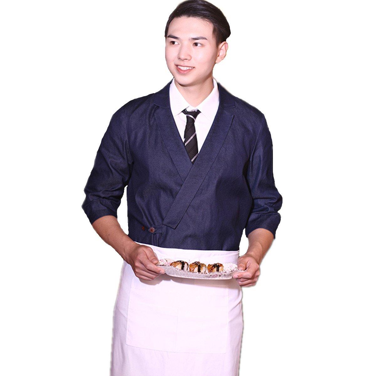 XINFU Sushi Chef Uniform Blue Denim 3/4 Long Sleeve Restaurant Japanese Kitchen Work Coat
