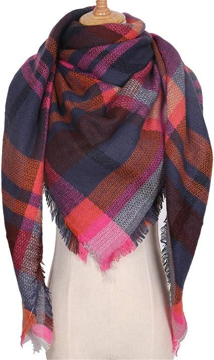 AiNaMei Mantón caliente de la bufanda de la tela escocesa de la cachemira del otoño y del invierno de las señoras