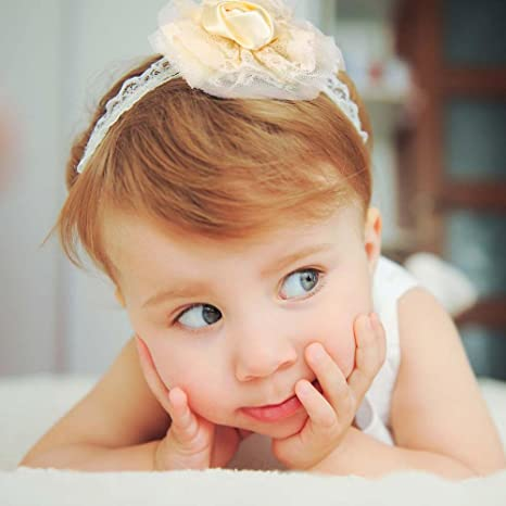 82153290d7597 Amazon.com  White Lace Baby Headband With Flower - Perfect Communion ...