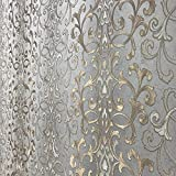 113.52 sq.ft rolls PASTE THE WALL ONLY Embossed modern Slavyanski wallcoverings victorian damask pattern Vinyl Non-Woven Wallpaper gray silver gold bronze metallic textured stripes wall coverings 3D
