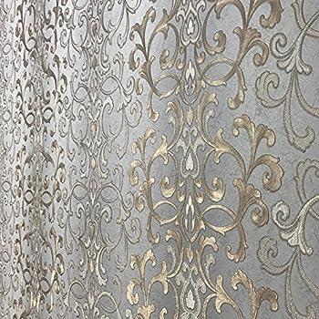 11352 Sqft Rolls PASTE THE WALL ONLY Embossed Modern Slavyanski Wallcoverings Victorian Damask Pattern Vinyl Non Woven Wallpaper Gray Silver Gold Bronze