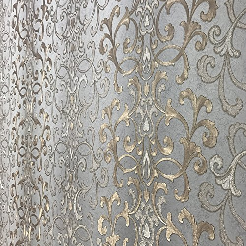 113.52 sq.ft rolls PASTE THE WALL ONLY Embossed modern Slavyanski wallcoverings victorian damask pattern Vinyl Non-Woven Wallpaper gray silver gold bronze metallic textured stripes wall coverings 3D by Slavyanski