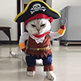 Oyedens Funny Pet Clothes Pirate Dog Cat Costume Suit Corsair Dressing up Party Apparel Clothing (M)