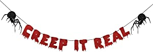 Red Glittery Creep It Real Banner-Halloween Party Decorations,Haunted House Decorations,Halloween Garland,Halloween Mantel Decor