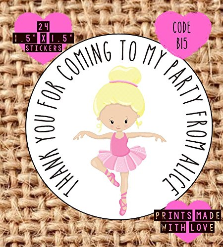 personalised ballet party bag stickers thank you for coming 24