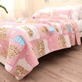 Cute Pink Bear Baby Bedding Coverlet Quilt Bedspread Throw Blanket for Kid's Girl & Boys Bed Gift 100% Natural Cotton Twin (51