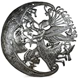 Handcrafted and Unique Grey Metal Home Wall Art Decor (Angel and Moon)