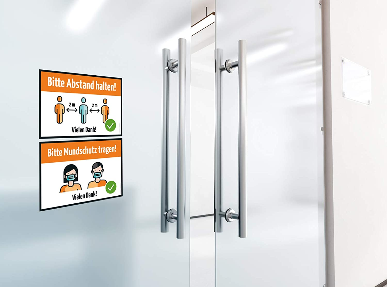 Mundschutz tragen DIN A5 Hinweis Sicherheitshinweise Hygieneregeln Schild Beschilderung Regeln Gebote f/ür T/ür oder Wand Aufkleber Bitte Abstand halten 4er Set