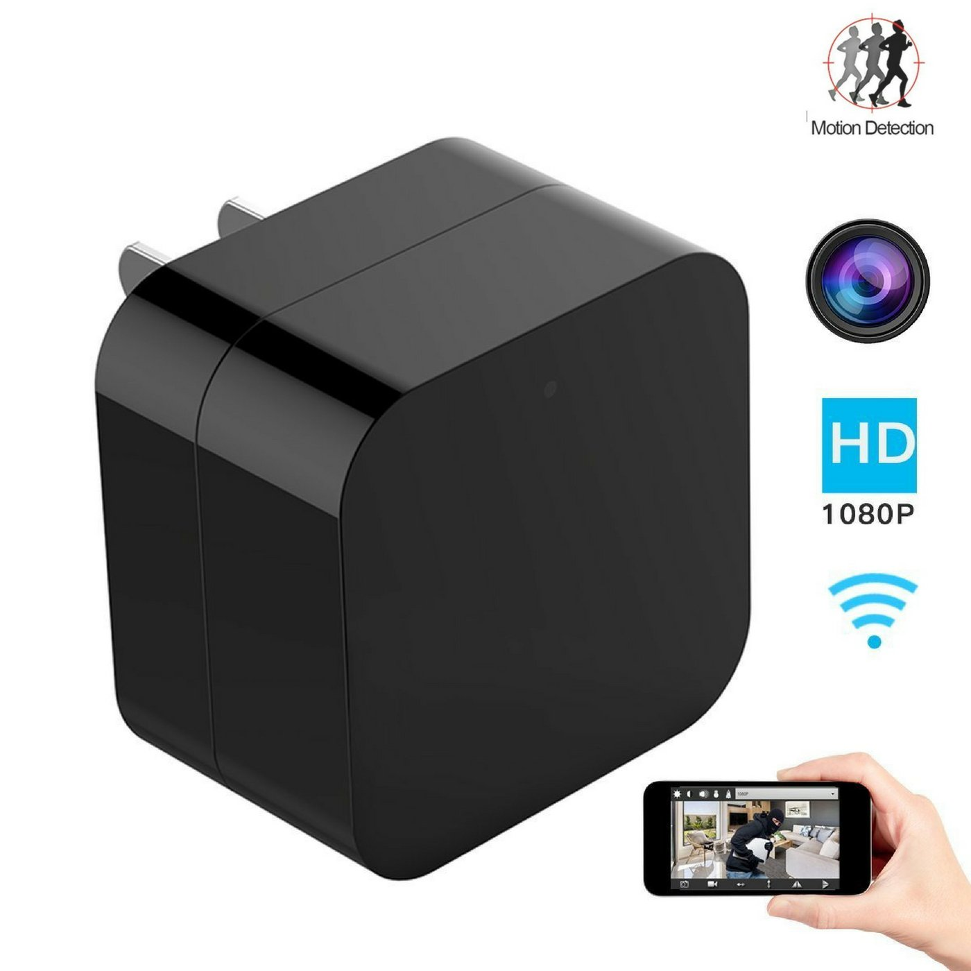 Hidden USB Spy Camera, Wireless Charger Mini Cam, Snap Smartcam, Nanny Spy Cam,Support WIFI - Motion Detection - Night Vision-Remote Viewings -Support Up To 128gb SD Card
