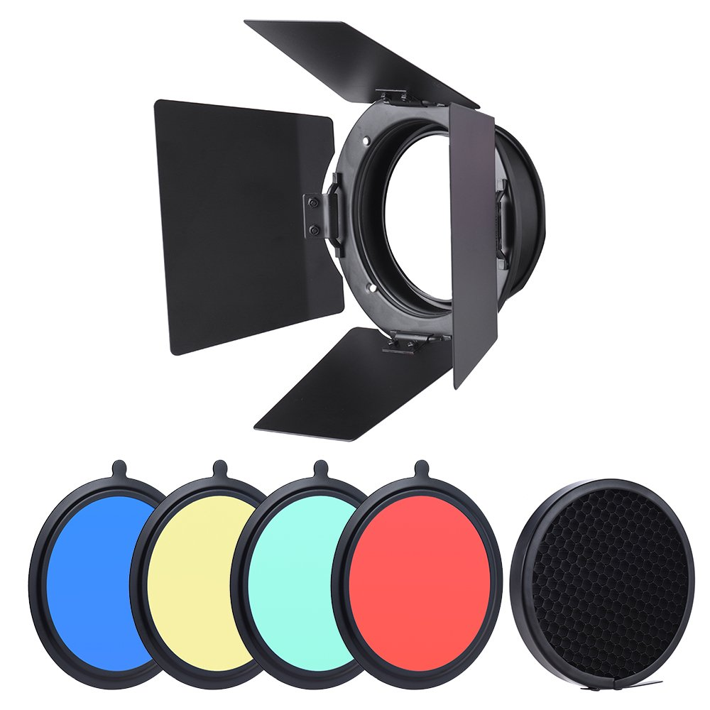 TPOTOO 96mm Universal Mount Metal Bardoor Barn Door Barndoor with Honeycomb Grid 4pcs Color Gel Filters for Neewer Godox 180W 250W 300W Andoer MD-250 MD-300 Studio Strobe Flash Light Monolight by TPOTOO