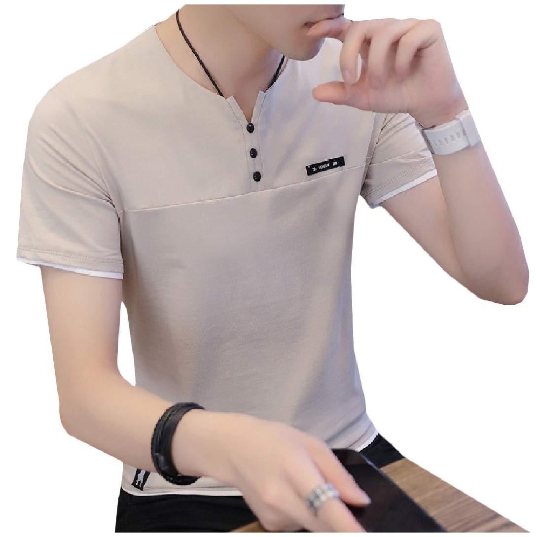 Winwinus Mens Notch Collar Relaxed Short Sleeves Button T-Shirt Top