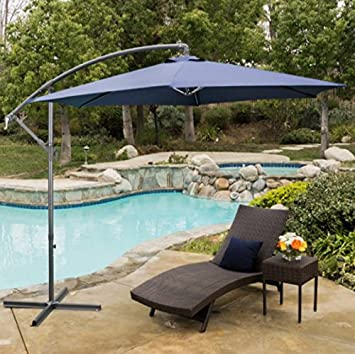 Patio Furniture 10u0027 Cantilever Umbrella Color Navy Blue, Waterproof Fabric