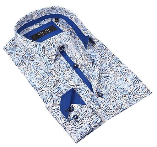 Coogi Luxe 100% Cotton Men's Blue/White Patterned Dress Shirt (3X-LARGE)