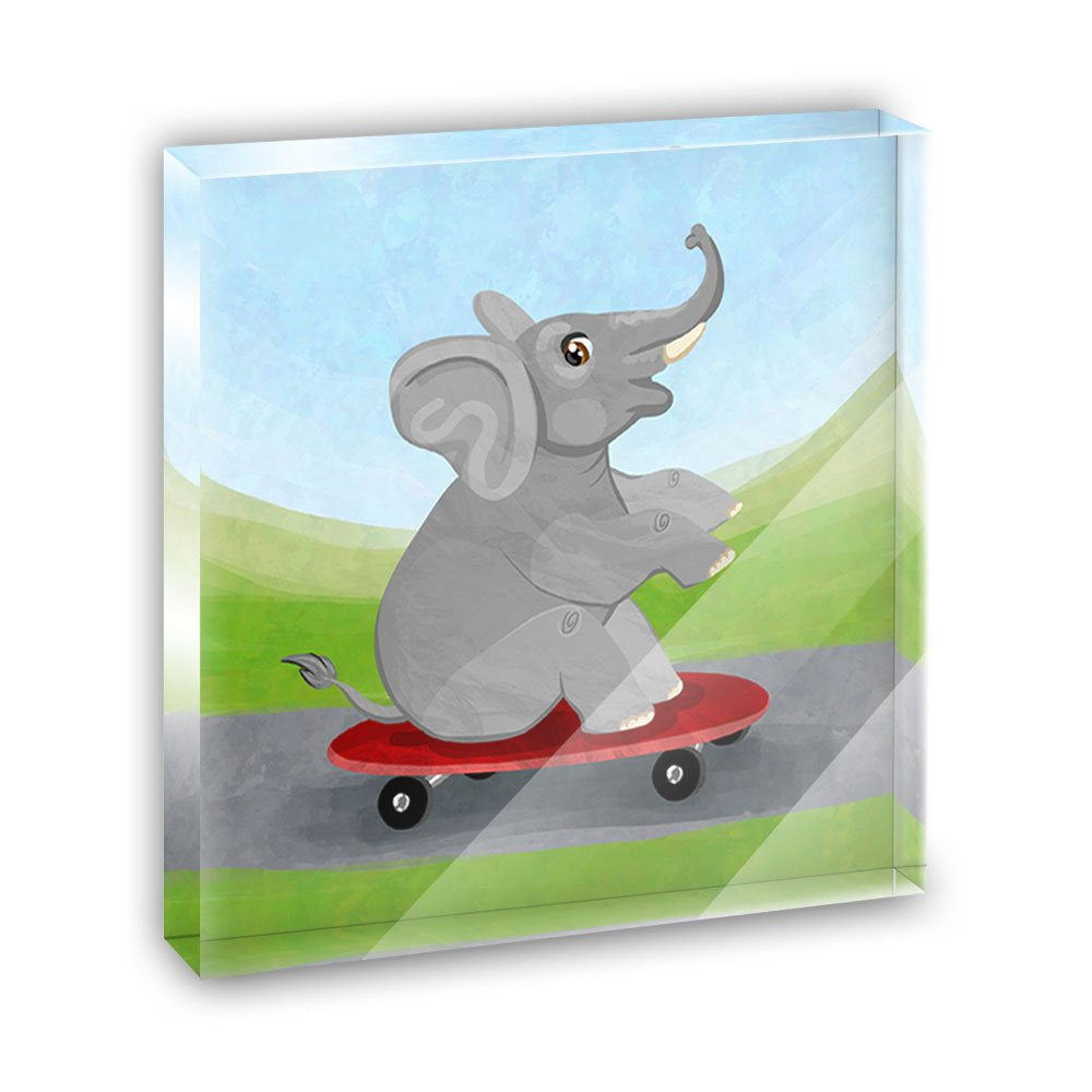 Elephant Skateboarding Acrylic Office Mini Desk Plaque Ornament Paperweight