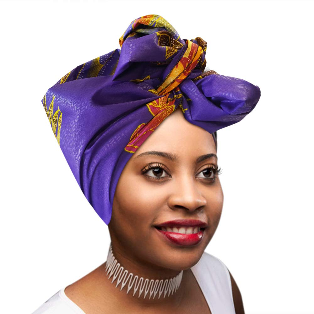 Amazon.com: Head Scarfs and Wraps Ladies African Print Turban Hats (Purple, Yellow and Pink): Jewelry