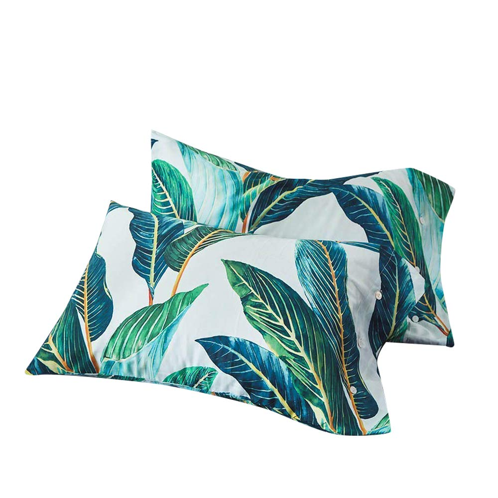 VM VOUGEMARKET Bedding Egyptian Cotton Pillow Cases King (Pack of 2),Green Leaves Pillow Covers with Button Closure End,20''×36'',Leaves by VM VOUGEMARKET