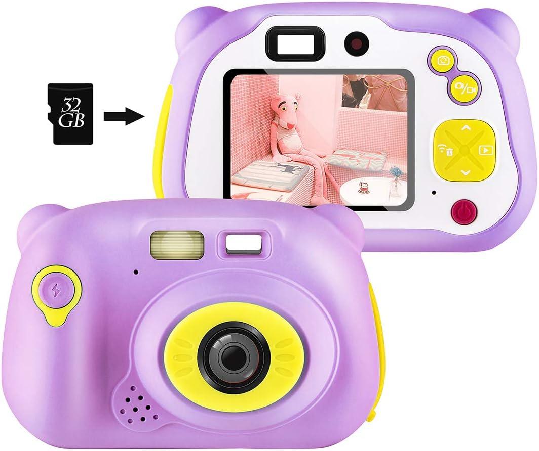 shumeifang Cámara Digital para Niños con 32GB Tarjeta TF & Acollador, 2 Objetivos Selfie 12 MP 2720P HD Video Cámaras, 2.0 Pulgada LCD Pantalla a Color, Carcasa de Silicona, Rosa