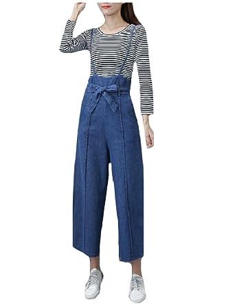 newest 25de9 57c82 Amazon.com: Comfy-Women 2pcs Jeans Palazzo Denim Strip ...