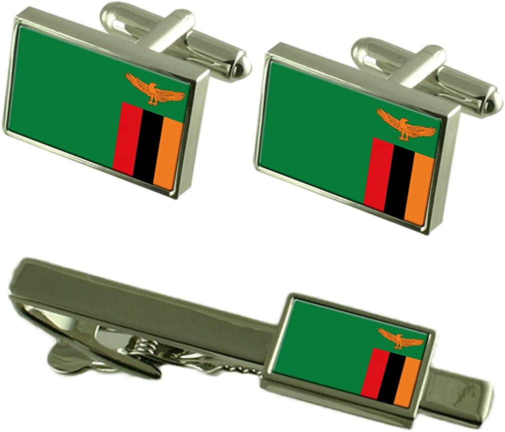Zambia Flag Cufflinks Tie Clip Matching Box Gift Set