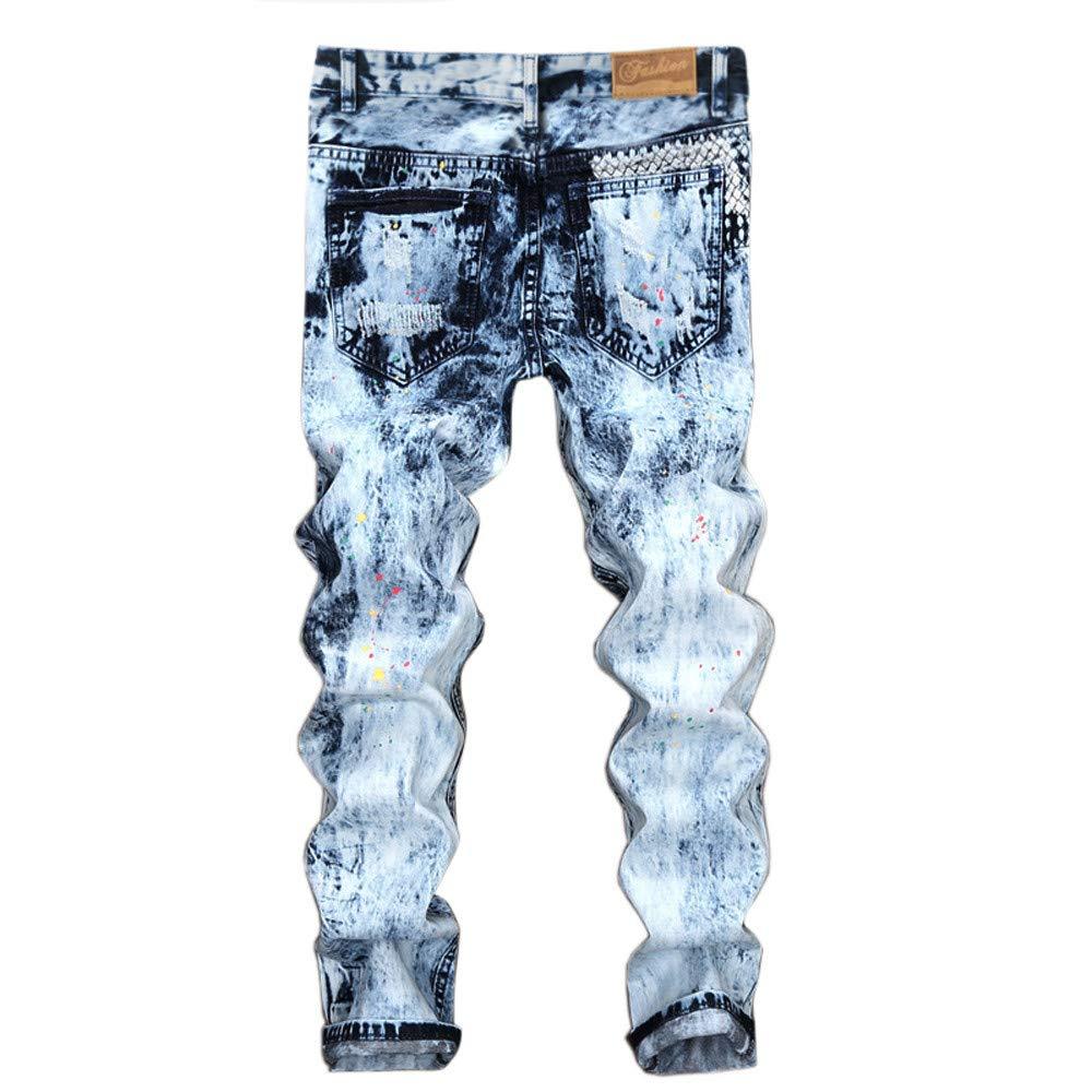 Mens Casual Sportswear Clearance REYO Mens Vintage Jeans Denim Folds Wash Work Frayed Zipper Pants Sweatpants Trousers