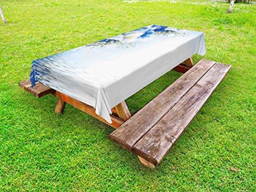 Hydrangea Dreamy (Lunarable Blue and White Outdoor Tablecloth, Blue Hydrangeas and White Irises Over The Sea Romantic Bouquet Dreamy, Decorative Washable Picnic Table Cloth, 58 X 104 Inches, Blue White Yellow)