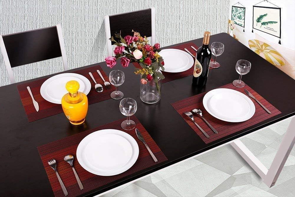OUME Sets de Table Lavables PVC Antid/érapant Vinyle R/ésiste /à la Chaleur Set de Table Lot de 6 pour Table /à Manger de Cuisine Caf/é Noir