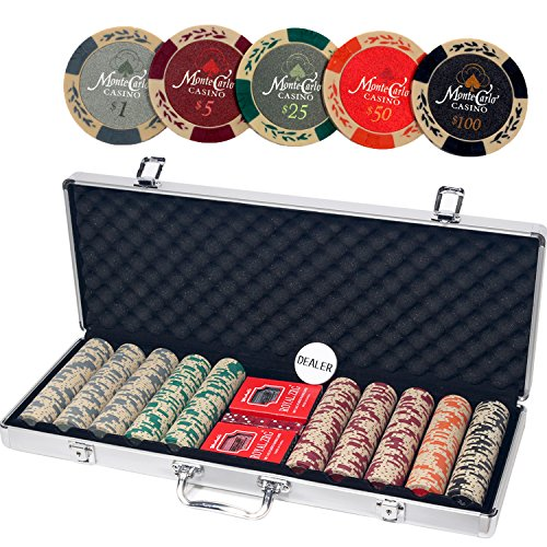 Monte Carlo Casino Poker Set with Aluminum Case, Including 500pcs 13.5 Gram Chips, 5 Dice, 2 Decks of Playing Cards, Dealer Button. by ALPS