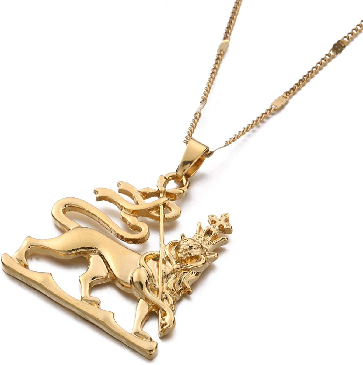 African Necklace Lion Pendant African Brass