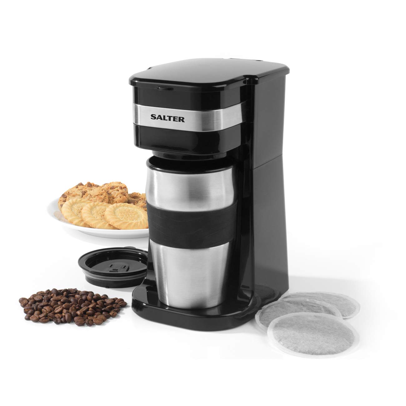 Salter COMBO-4460 Coffee Maker to Go Personal Filter Coffee Machine with Grinder