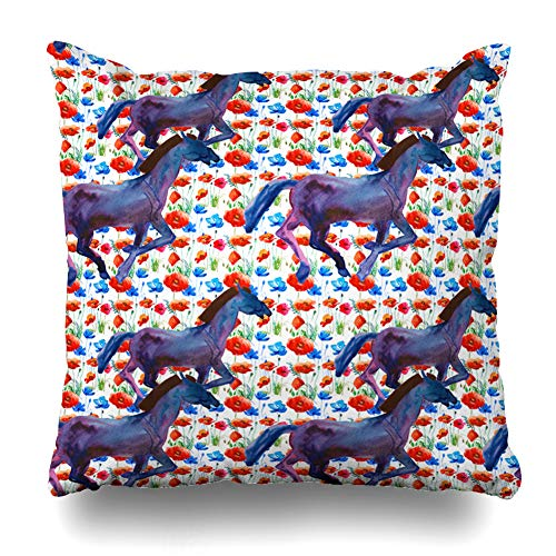 Ahawoso Decorative Throw Pillow Cover Numbers Watercolor Pattern Lunar New Year Horse Holidays Outline Blue Asian Astrology Box Calendar Home Decor Pillowcase Square Size 16