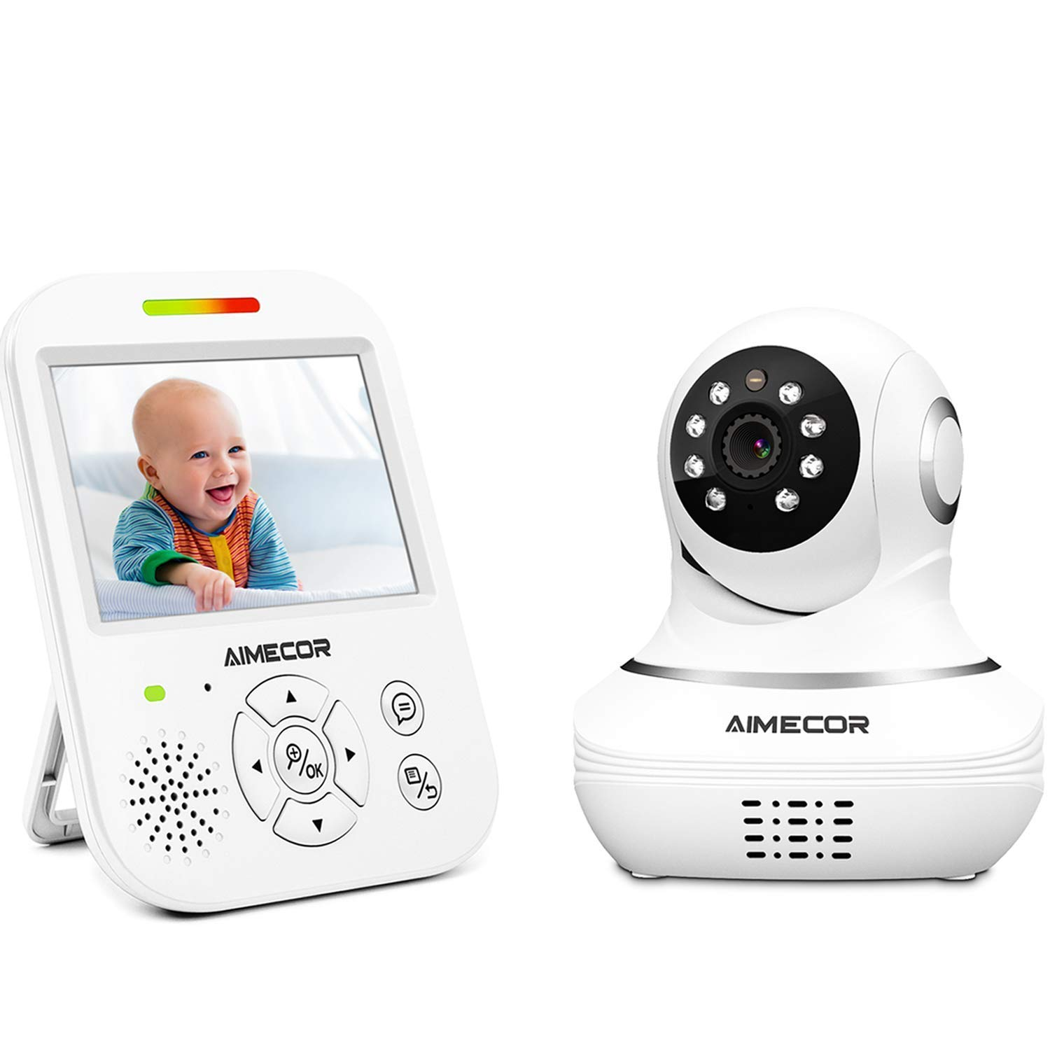 Video Baby Monitor with Camera - 3.5 inch IPS Display, Motorized Pan/Tilt,HD Night Vision Camera, 960ft Transmission Range, Temperature Monitoring,Include Compatible Mount Shelf (White) AIMECOR