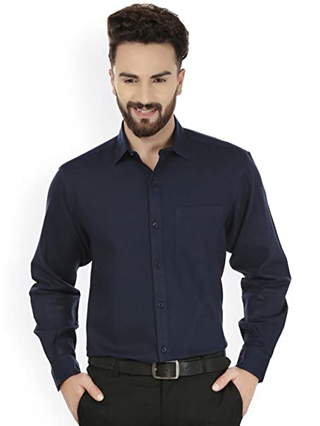 4fb7a2f1ad Navy Blue Formal Shirt For Men (Dark Blue Men s casual shirt)  Amazon.in   Clothing   Accessories