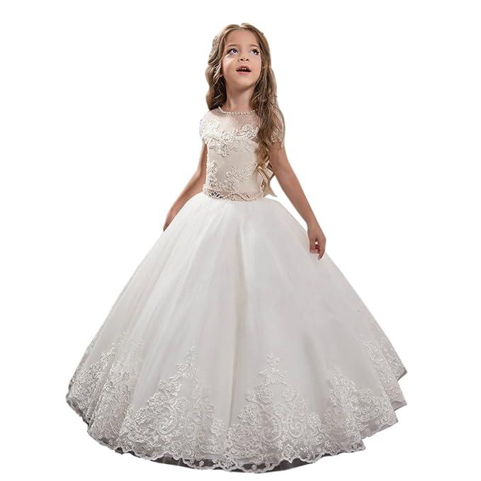 a5c69fa4a9 Shenlinqij - Vestido redondo de encaje para niñas