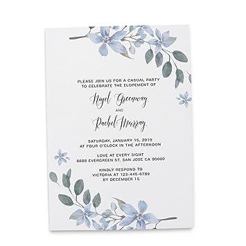 Amazoncom Floral Elopement Announcement Invitation Invite