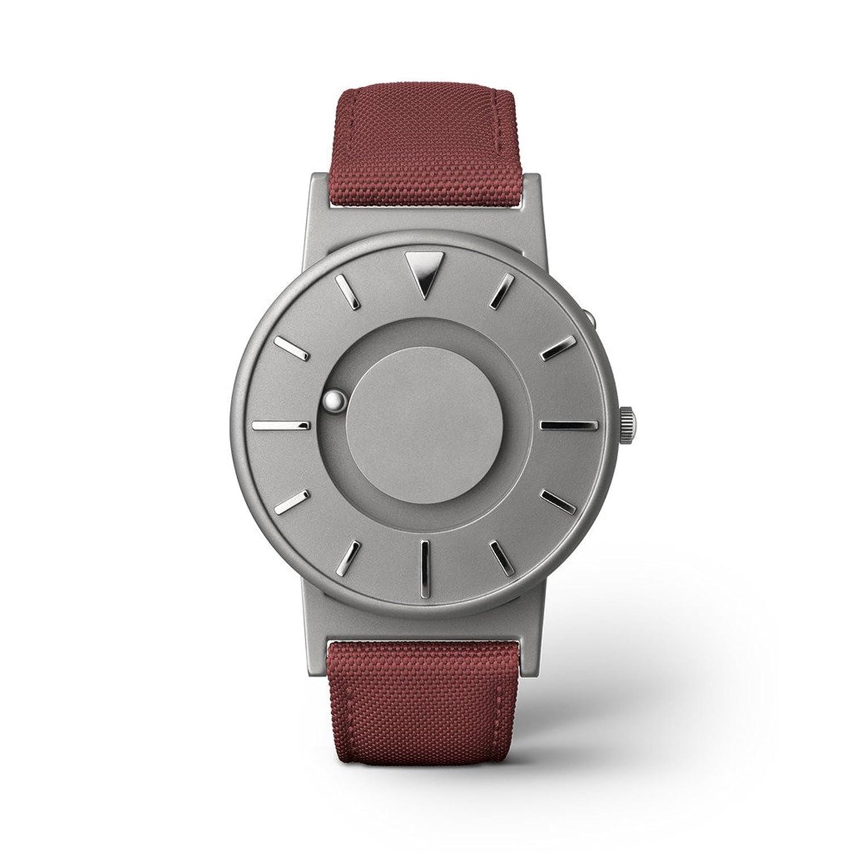eone BRADLEY CLASSIC Unisex Uhr - Leder- Stoff Armband crimson