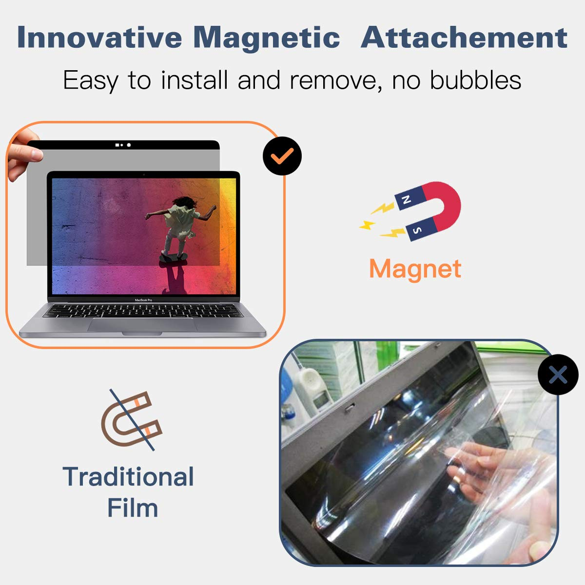 //2018 MacBook Air 13.3 Inch Black Anti-Glare /& Blue Light Blocking MacBook Screen Filter A1932 A1706//A1708//A1989 MoKo Magnetic Privacy Screen Protector Compatible with MacBook Pro 13.3 Inch