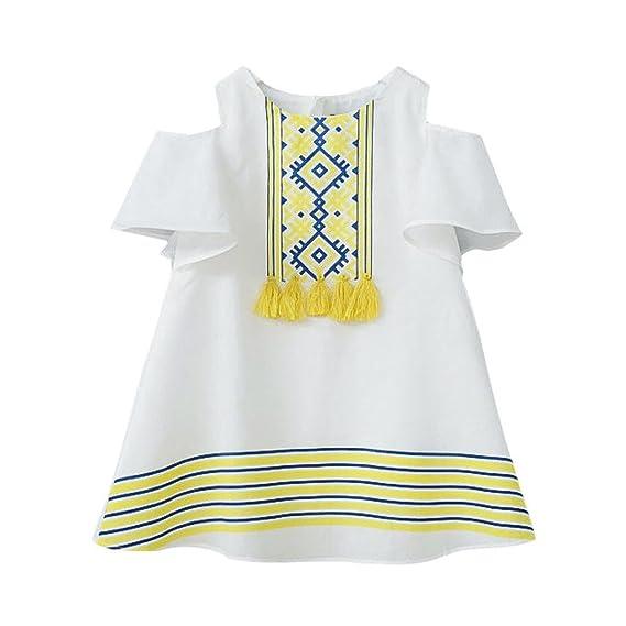 K-youth Vestido Bebé Niña Linda Sin tirantes Borla Princesa Vestido de Niña Verano Ropa