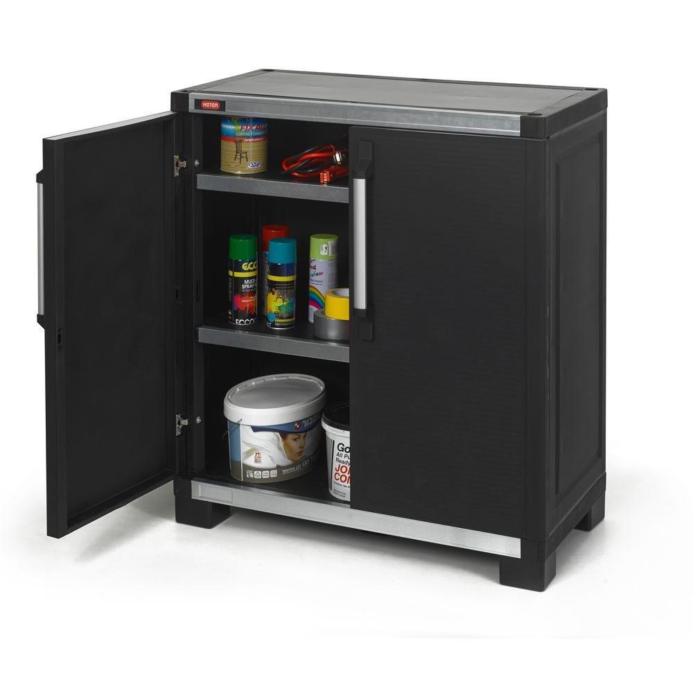 Attractive Freestanding Resin Garage Storage Utility Cabinet, Black: Home U0026 Kitchen