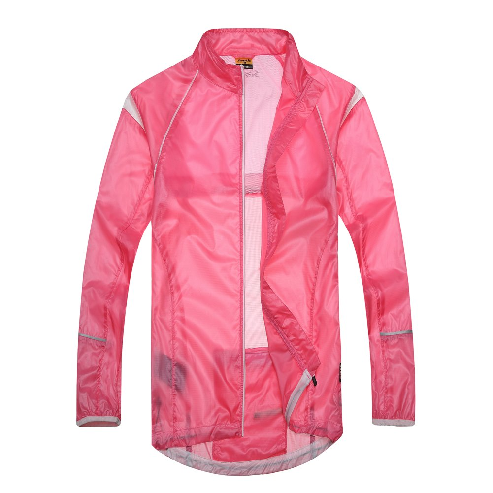 Santic NEW Design Women's Super Light Wind Rain Coat Bicycle Waterproof Jacket Full-zipper Size L