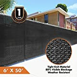 Clevr 6' x 50' Wind Privacy Screen Fence, Commercial Grade Fabric Mesh with Durable Grommets, Black (Set of 3-150' Long) | 1 YEAR LIMITED WARRANTY 140GSM