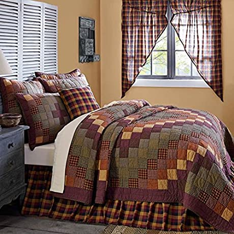 5 Pc HERITAGE FARMS King Set 1 Quilt 2 Shams 1 Primitive Bed Skirt 1 BONUS Burgundy Star Burlap Toss Pillow Cover Crow Black Mustard Burgundy Country Farmhouse Bedding