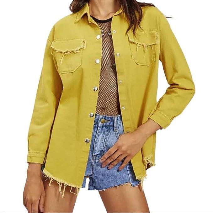 Womens Tops Clearance - WEUIE Women Casual Soft Denim Shirt Tops Blue Jean Button Long Sleeve Blouse Jacket(S, Blue)