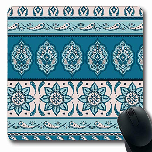Tobesonne Mousepads Pattern Floral Indian Paisley Border Vintage Flower Sari Ethnic for Indonesia Batik Sarong Oriental Oblong Shape 7.9 x 9.5 Inches Non-Slip Gaming Mouse Pad Rubber Oblong Mat
