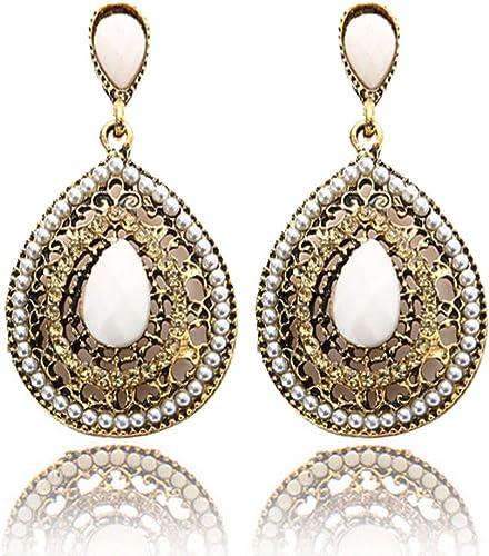 Vintage Hollow Waterdrop Opal Drop Dangle Earrings Women Antique Silver Plated
